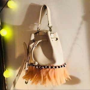 Handbags - Off-white/peach feathered shoulder bag